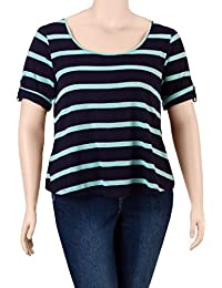 Juniors Plus Layered Look Striped Top, Mint/Navy