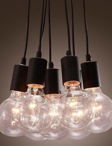 Yaomeimei 現代の家7ヘッドエジソン電球ライトロフトガラスボールリビングルームペンダントライトダイニングルームライト (Color : ブラック)  ブラック B07SVVMKHS