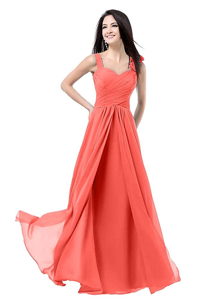 Coral Baixia Womens Formal Flower Straps Long Evening Prom Wedding Bridesmaid Dresses