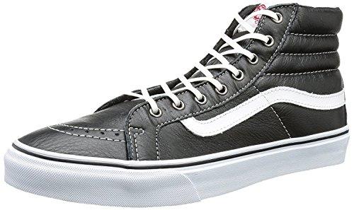 Vans Femme Sk8-hi Slim En Cuir Noir / True White Sneaker En Cuir Noir / True White