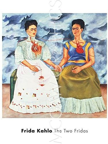 The Two Fridas 1939 by Frida Kalo Portrait Woman Spanish Print Poster 20x22