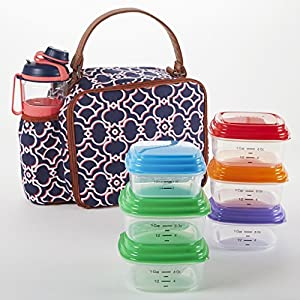 Fit & Fresh Roseville Insulated Lunch Bag with Meal Prep Containers & 24 ounce Jaxx Water Bottle/Shaker (Navy Coral Castle Gates)