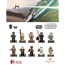 ABG toys Minifigures STAR WARS Kylo Ren, Chewbacca, Rey, Han Solo, Poe Dameron, Tie Fighter Pilot, First Order Storm Trooper, Finn, Captain Plasma, Unkar's Thugs Series Building Blocks Sets Toy Compatible With Lego (No box, no card)