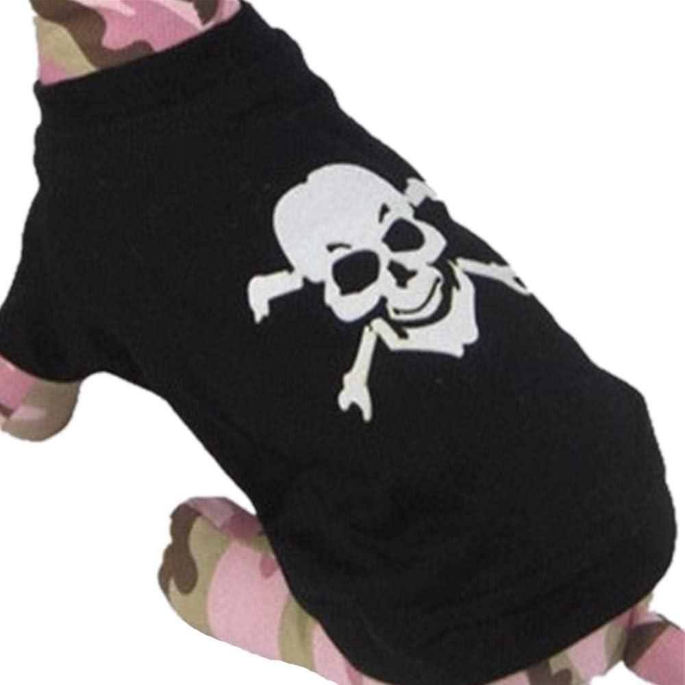 AMURAO Skull Dog Shirt Chaleco de enfriamiento para Perros Ropa para Mascotas Perros Piratas Caribe Bulldog francés Sudadera con Capucha para Perros