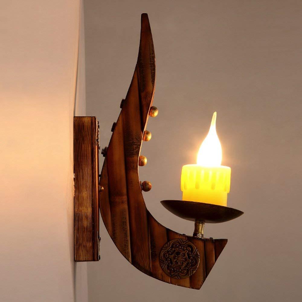Kinine/&Lampade da parete Applique in legno vintage,COCOL lampada da parete in metallo vintage E27 Applique da parete in legno rustico e applique Applique da parete in stile antico vintage stile indust