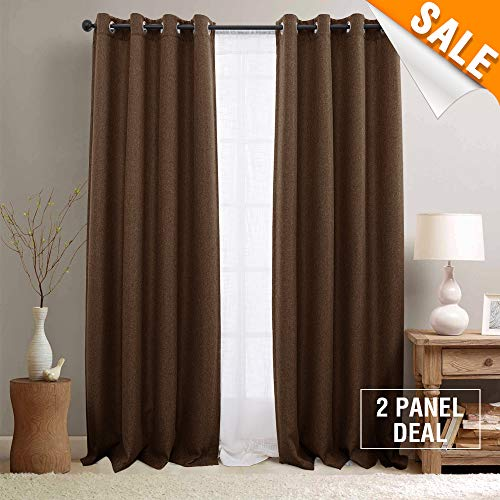 Blackout Curtains 95 inch Thermal Insulated Room Darkening Window Curtains for Living Room 2 Panels Brown Grommet Top - Window Panel Fabric