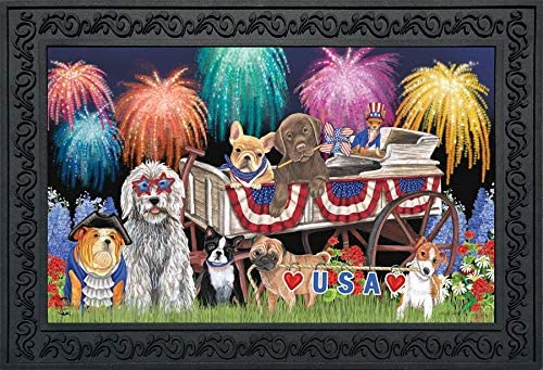 Briarwood Lane Patriotic Pups Fourth of July Doormat Fireworks Dogs Indoor Outdoor 18 x 30