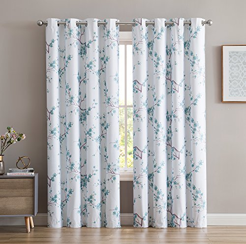 (HLC.ME Jasmine Floral Faux Silk 100% Blackout Room Darkening Thermal Insulated Curtain Grommet Panels - Energy Efficient, Complete Darkness, Noise Reducing -Set of 2 (Teal Blue, 52