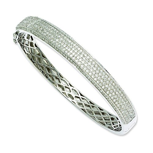Argent Sterling braises CZ brillant JewelryWeb-Bracelet à charnière