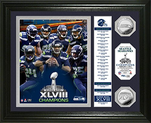 NFL Seattle Seahawks Super Bowl 48 Champions ''Banner'' Photo Minted Coin, 18'' x 14'' x 3'', Silver by The Highland Mint