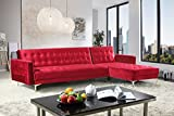 Cheap Iconic Home FSA9009-AN Amandal Convertible Sofa Sleeper Bed L Shape Chaise Tufted Velvet Upholstered Gold Tone Metal Y-Leg Modern Contemporary, Right Facing Sectional, Red Velvet