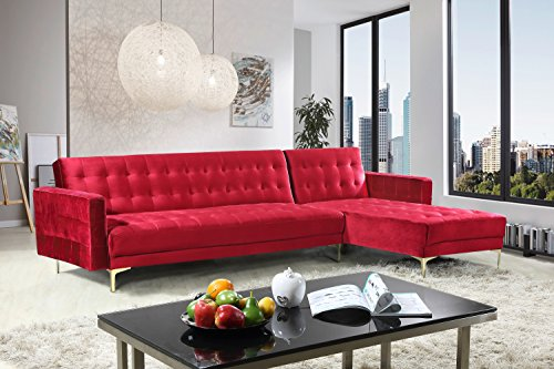 (Iconic Home FSA9009-AN Amandal Convertible Sofa Sleeper Bed L Shape Chaise Tufted Velvet Upholstered Gold Tone Metal Y-Leg Modern Contemporary, Right Facing Sectional, Red Velvet)