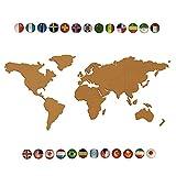 9SWALL Map Cork Board Of The World Made of 2'' Thickness Natural Cork Board Self Adhesive World Map Cork Bulletin Board With 25pcs National Flag Pins