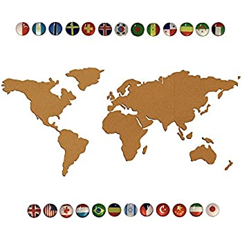 Amazon.com : Juvale 15-Piece World Map Cork Board with 20-Pack Push ...