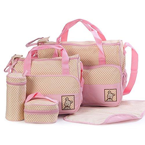 Bags Cc Handbag - CC Shop Multi-functional Baby Changing Diaper Nappy Bag Mummy Mother Handbag set (Pink)