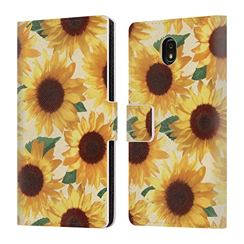 Official Micklyn Le Feuvre Big Happy Yellow Sunflowers Florals 4 Leather Book Wallet Case Cover Compatible for Samsung Galaxy J7 (2018)