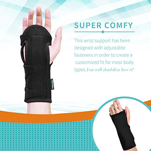 Fibee Night Wrist Sleep Support Brace, Palm Cushion Relieves Carpal Tunnel, Tendonitis, Ulnar Pain Etc, Wrist Splint for Men and Women, Night Wrist Brace with Metal Support for Right and Left Hand by fibee (Image #4)
