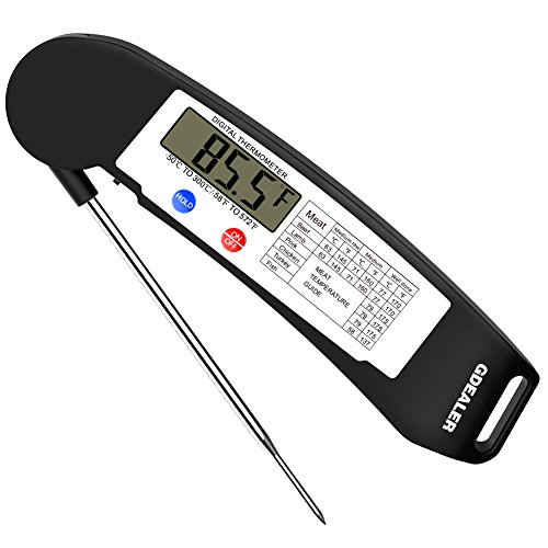 GDEALER Instant Read Thermometer Super Fast Digital Electronic Food Thermometer Cooking Thermometer Barbecue Meat Thermometer with Collapsible Internal Probe for Grill Cooking Meat Kitchen Candy (Electronic Temperature)