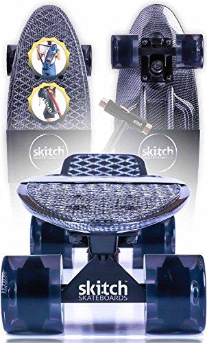 All Black Penny Board Skateboard - Skitch Graphic Black Carbon Fiber
