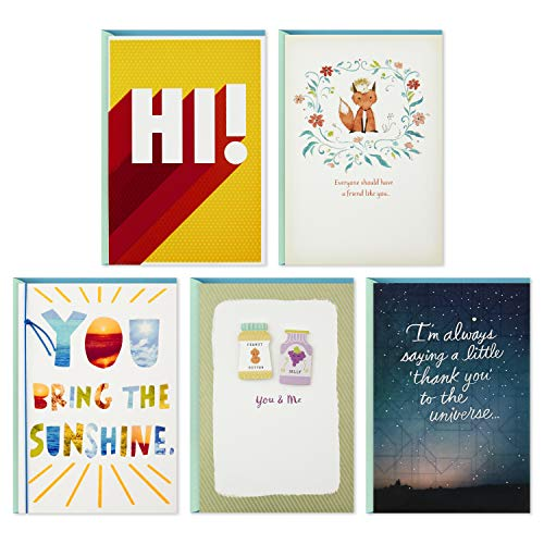 Friends Assortment - Hallmark Friendship Cards Assortment-Just Because, Thinking of You, Thank You, Glad We're Friends (5 Cards with Envelopes)