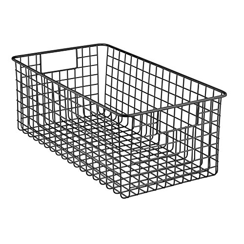InterDesign Classico Deep Wire Storage Basket with Handles for Organizing Kitchen Cabinets, Pantry  Matte Black