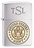Personalized Zippo Army Emblem Brushed Chrome Lighter with Free Engraving