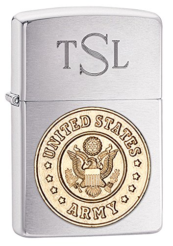 Personalized Zippo Army Emblem Brushed Chrome Lighter with Free Engraving ()