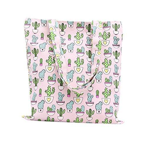 Nuni Women's Cute Cactus Print Canvas Tote Bag (Pink/ No closure, no lining) - Cotton Shoulder Bag Lined Fully