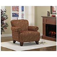 Living Room Accent Arm Chair Textured Fabric Brown with Cranberry Chenille Leaves