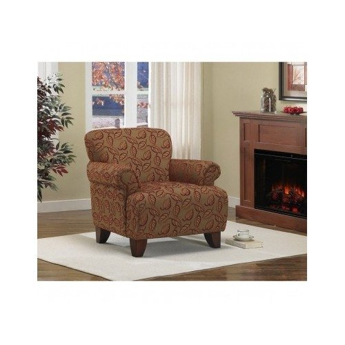 Living Room Accent Arm Chair Textured Fabric Brown with Cranberry Chenille Leaves ()