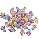 MagiDeal 50pcs/lot Cute Cartoon Transportation Tools Wood Buttons Sewing Children Buttons Clothes Ornament DIY Making - Rocket, 32 x 25mm
