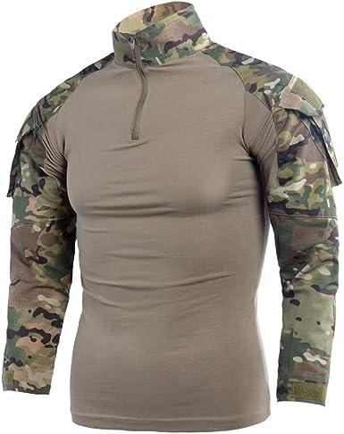 LANBAOSI - Camiseta de Manga Larga para Hombre, diseño Militar - Marrón - Small: Amazon.es: Ropa y accesorios