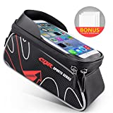 Beusoft Bike Bag Road Mountain Bike Top Tube Front Frame Bag with Waterproof Touch Screen Phone Case for iPhone X 8 7 6s 6 plus 5s 5/Samsung Galaxy s7 s6 note 7 Cellphone Below 6.3 Inch