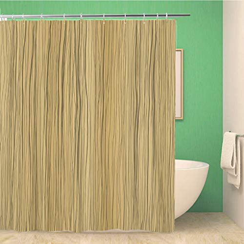 Awowee Bathroom Shower Curtain Beige Woodgrain Wood Brown Abstract Building Color Construction Copy Polyester Fabric 66x72 inches Waterproof Bath Curtain Set with Hooks