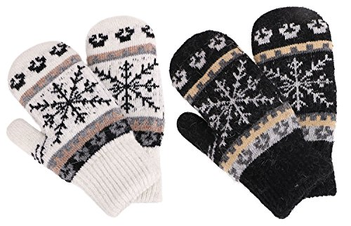 Kids Winter Warm 3 Pairs Sherpa Lined Knitted Gloves Boys
