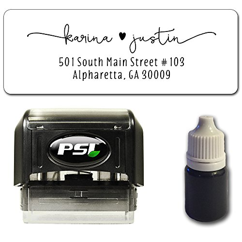 (Custom Return Address Stamp, Self Inking - Bundle with Stamp, Extra Refill Ink and 100 Matching Adhesive Address Label Stickers)