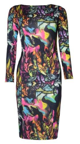 Print Long Sleeved Dress (Womens Birds and Feathers Print Long Sleeved Midi Dress (4/6 (uk 8/10), Black/green/hot pink))