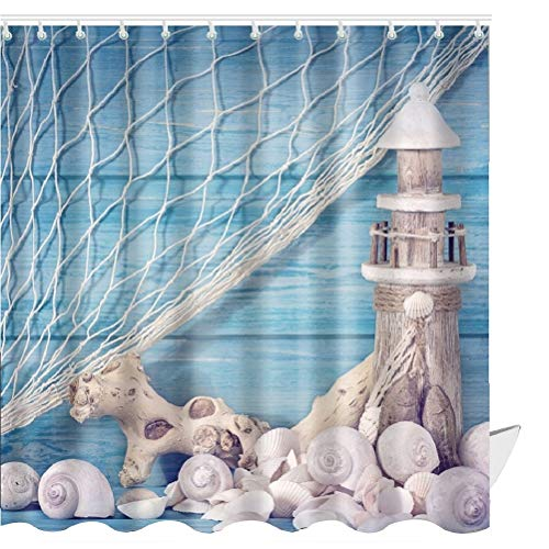 ABxinyoule Lighthouse Shower Curtain Shell Conch Nautical Blue Fabric