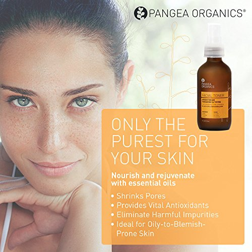Pangea Organics Facial Toner | Argentinean Tangerine & Thyme | 4 oz. Skin Care Toner | Filled with Essential Oils & Botanicals | Ideal for Oily-to-Blemish-Prone Skin