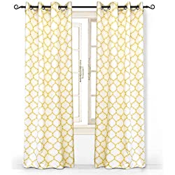 "DriftAway Geometric Trellis Room Darkening/Thermal Insulated Grommet Unlined Window Curtains, Set of Two Panels, Each 52""x84"" (Yellow)"