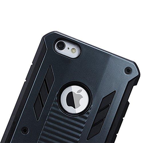 ubsma-2en 1Combo robuste Double Couche [Coque résistante aux chocs] Robot Impact Advanced Armor antidérapant détachable hybride en silicone souple Coque rigide à clipser pour Apple iPhone 6plus