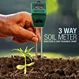 Elenest 3-in-1 Soil pH Meter, Light and Moisture / Acidity Meter Plant Tester, Helpful for Garden, Farm, Lawn, Indoor & Outdoor (No Battery Required) (Square)