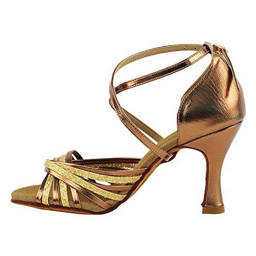 50 Tinten Gouden Dansschoenen Collectie, Comfort Avondjurk Pumps, Ballroom Schoenen Voor Latin, Tango, Salsa, Swing, Theather Kunst Van 50 Kleuren (2,5 3 & 3,5 Hakken) S1001 Gouden Schaal En Donker Goud