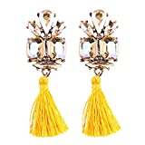 Women Fringed Statement Earrings Jewelry Bohemian Style Wedding Tassel Women Drop Earrings Yellow
