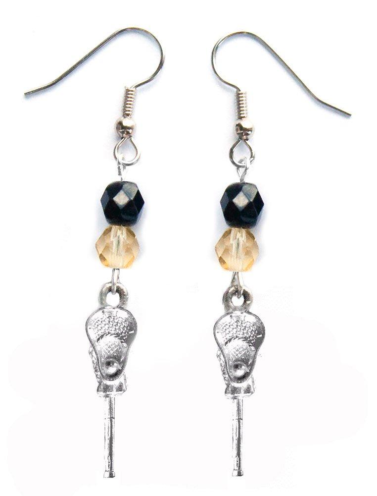 ''Lacrosse Stick & Ball'' Lacrosse Earrings (Team Colors Black & Gold)