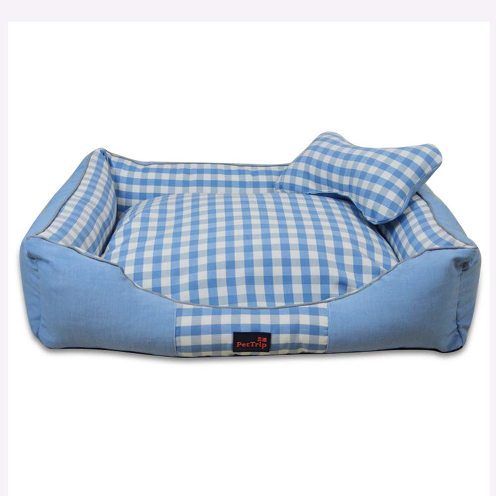 bluee Plaid Medium bluee Plaid Medium Pet Supplies Kennel removable and washable, autumn and winter pet bed, universal pet bed throughout the year
