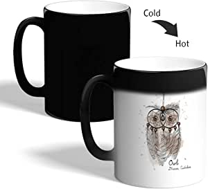 كوب القهوة السحري، اسود، بتصميم شكل بومة
