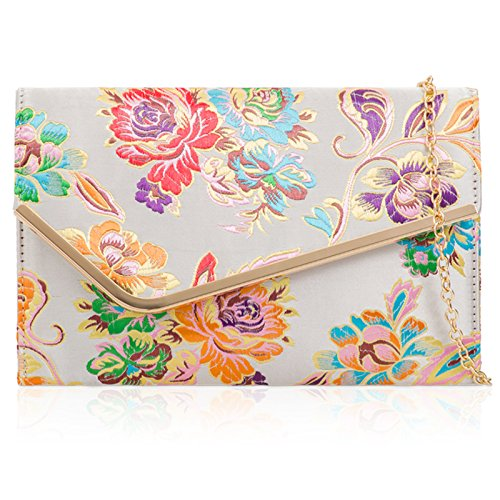 Satin Flat Embroidered Xardi London Silver Jacquard Clutch Floral Bag nSPwRxXqw