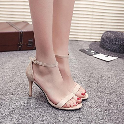 Party Sandales Bovake Toe Beige Haut Talon Chaussures Mode Open Femme Couleur Pure T00fqw