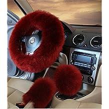 "3Pcs Winter Women Car Steering Wheel Cover Charm Warm Long Wool Plush Car Handbrake Cover Gear Shift Cover Set 14.96"" (wine red)"